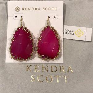 Kendra Scott Pat Luxe Nest Pink Earrings RARE NWT